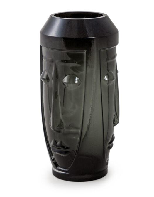 Tall Black Glass Deco Face Vase