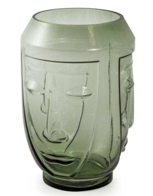 Green Glass Deco Face Vase