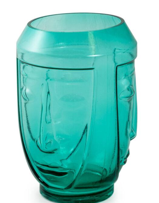 Teal Glass Deco Face Vase