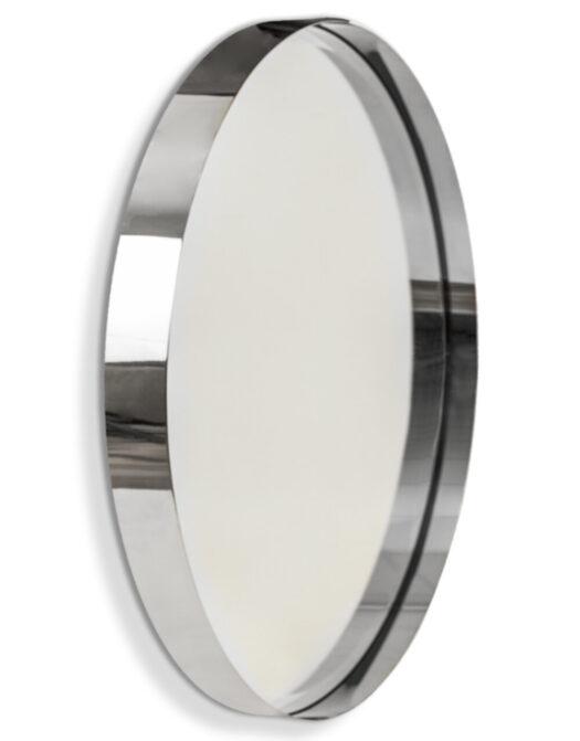 Medium Chromed Stainless Steel Round Holden Wall Mirror