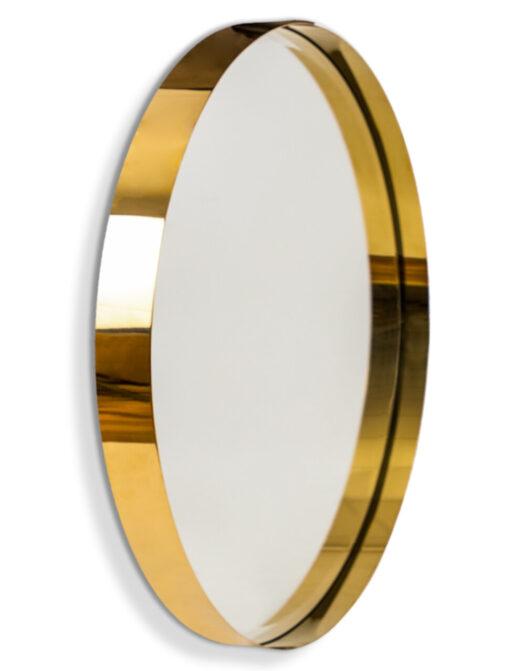 Medium Brass Stainless Steel Round Holden Wall Mirror