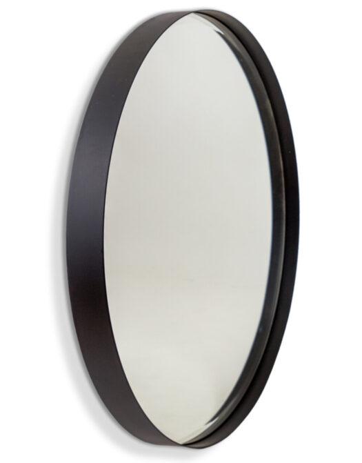 Medium Matt Black Steel Round Holden Wall Mirror