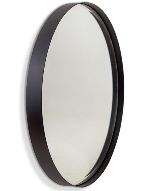 Large Matt Black Steel Round Holden Wall Mirror