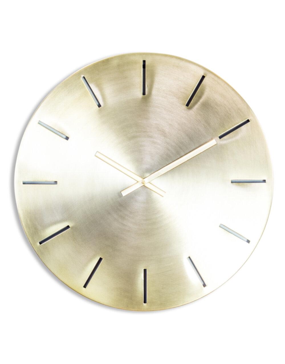 Large Brushed Brass Metal Wall Clock