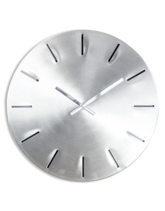 Large Brushed Steel Metal Wall Clock