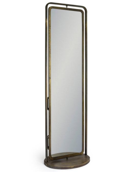 Industrial Revolving Freestanding Storage Mirror