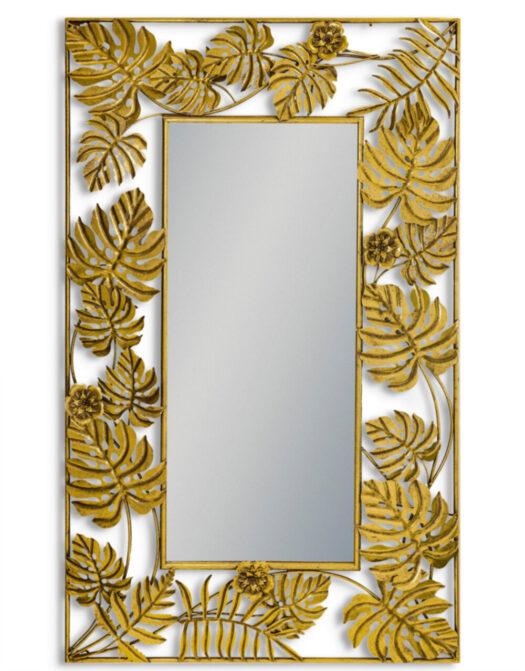 Gold Tropical Leaf Rectangular Wall Mirror