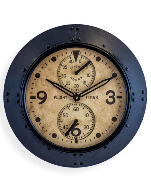 """Antique Black Framed Flight Hours"""" Aviation Wall Clock"""""""