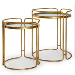 Antique Gold/Bronze Leaf Set of 2 Side Tables