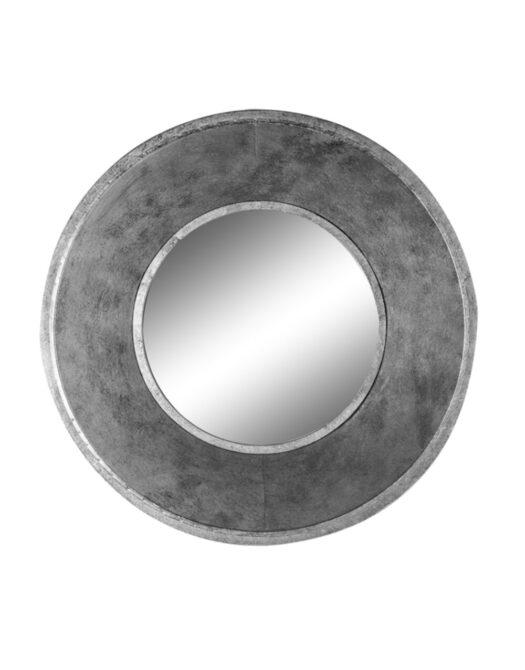 Deep Framed Silver Round Metal Wall Mirror