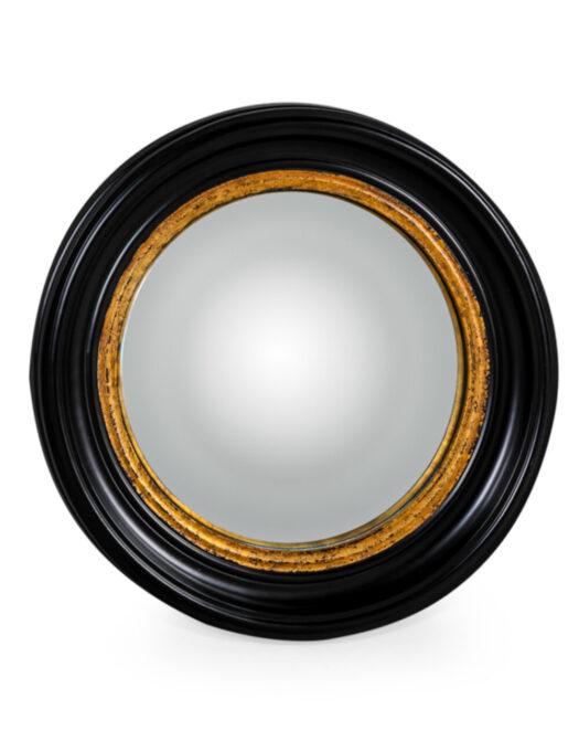 Round Black Medium Convex Mirror
