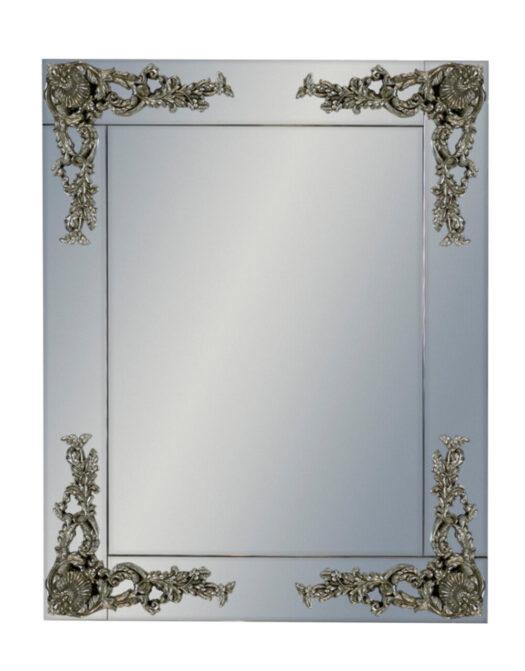 Rectangular Frameless Mirror with Metallic Corner Detail