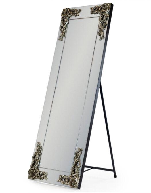 Large Cheval Rectangular Frameless Mirror with 'Metallic' Corner Detail