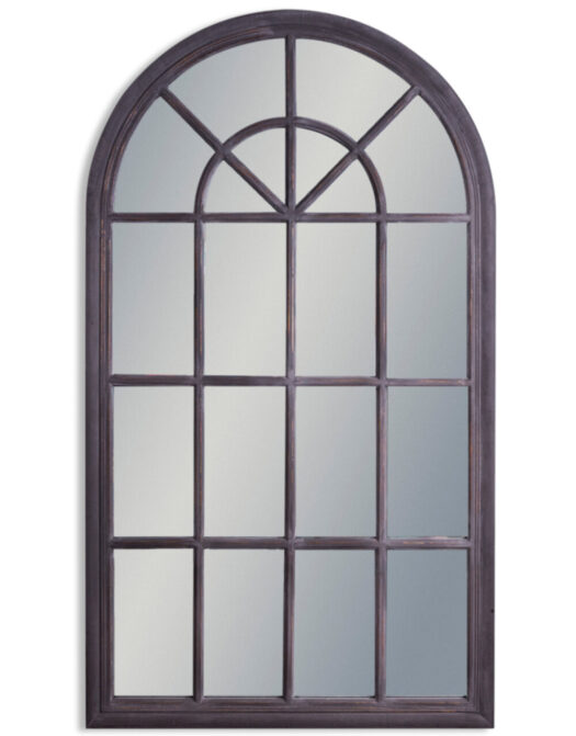 Large Rustic Black Arched Window Mirror