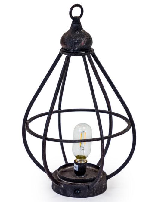 Antiqued Iron Large Cage LED Lantern (USB Rechargeable)