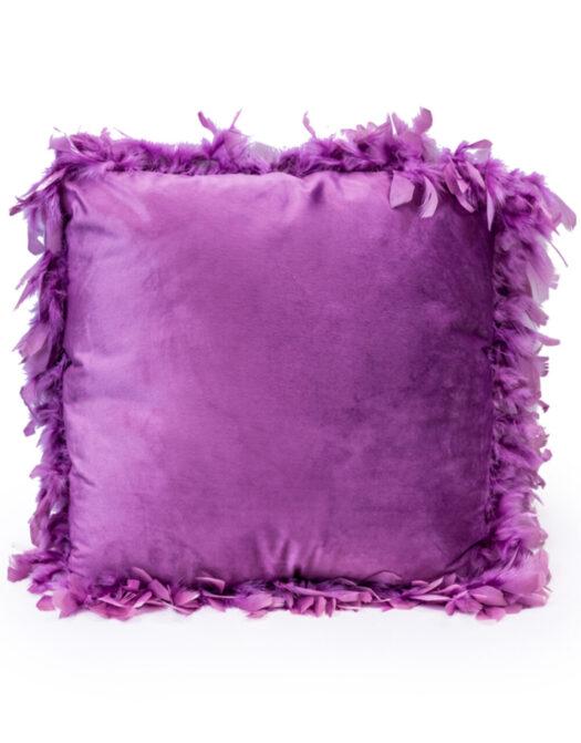 Purple Feather Edged Square Velvet Cushion