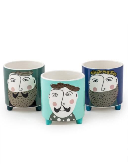 """Set of 3 Hipster Gent"""" Ceramic Pots"""""""