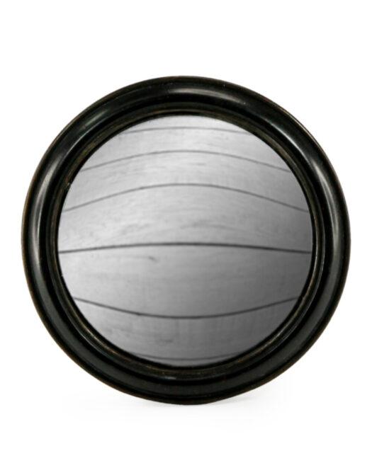Antiqued Black Rounded Framed Large Convex Mirror