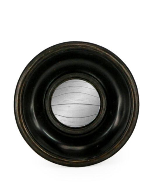 Antiqued Black Deep Framed Extra Small Convex Mirror