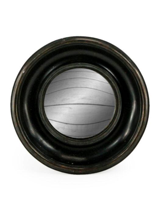 Antiqued Black Deep Framed Small Convex Mirror