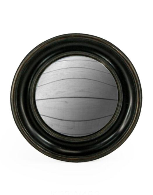 Antiqued Black Deep Framed Large Convex Mirror
