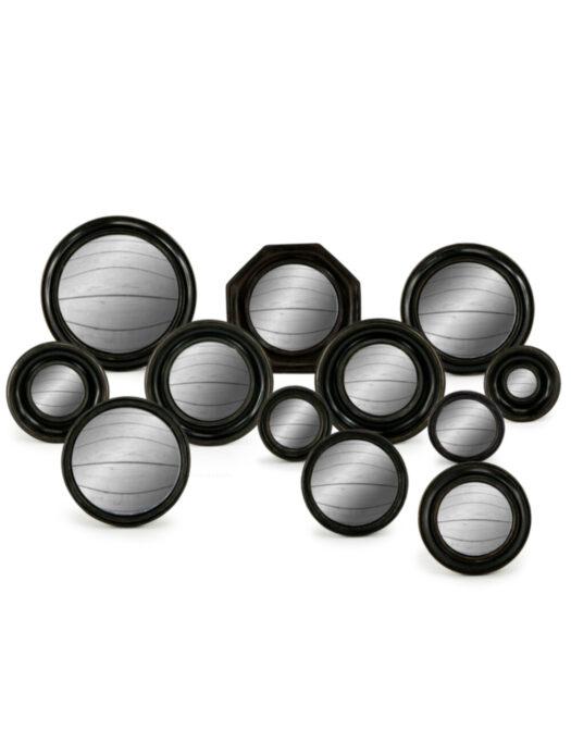 Set of 12 Assorted Black Framed Convex Mirrors (MK4-MK15)