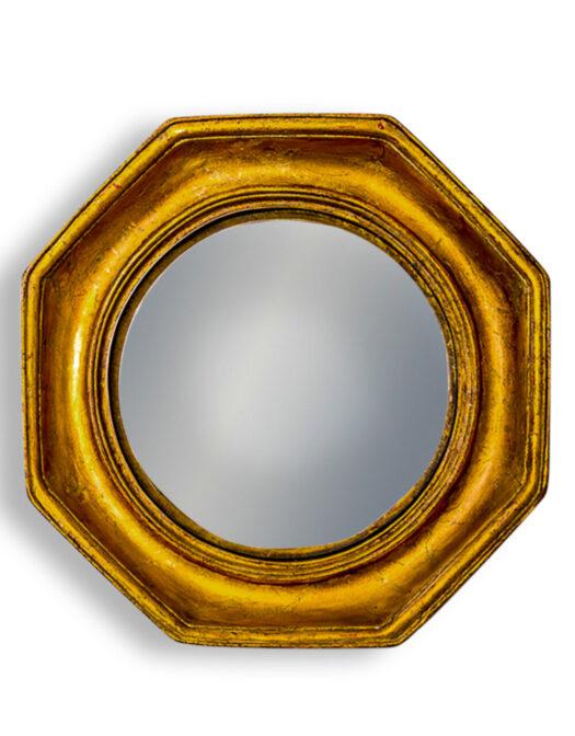 Antiqued Gold Octagonal Framed Convex Mirror