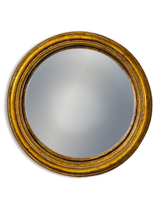 Antiqued Gold Thin Framed Medium Convex Mirror