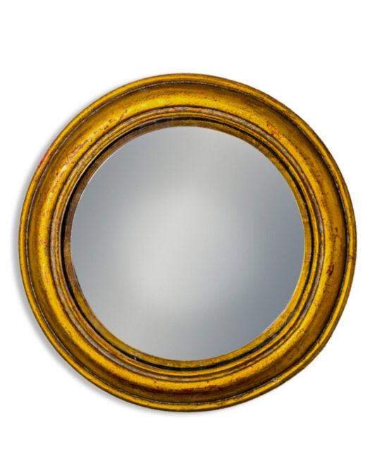 Antiqued Gold Rounded Framed Medium Convex Mirror