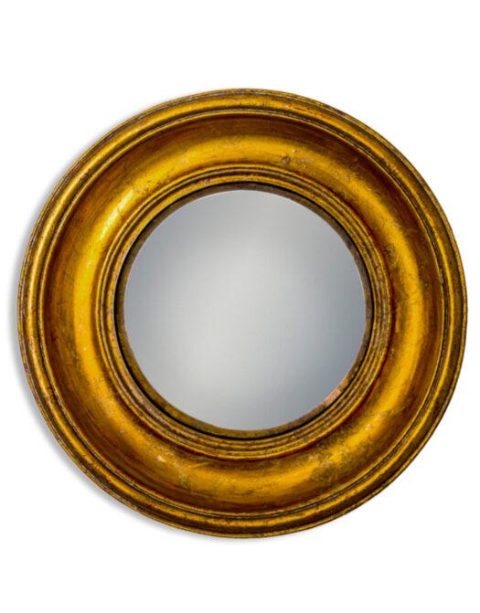 Antiqued Gold Deep Framed Medium Convex Mirror