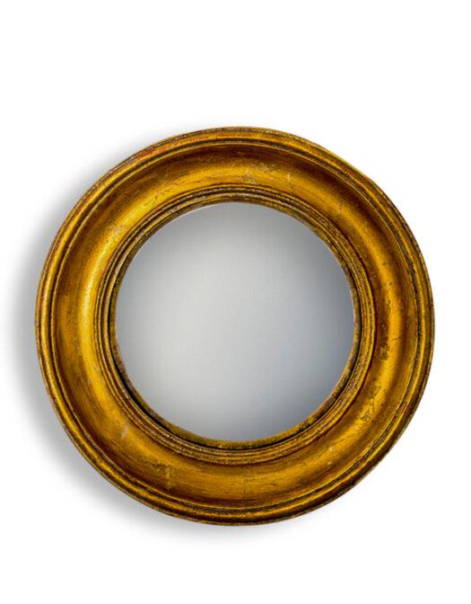 Antiqued Gold Deep Framed Large Convex Mirror
