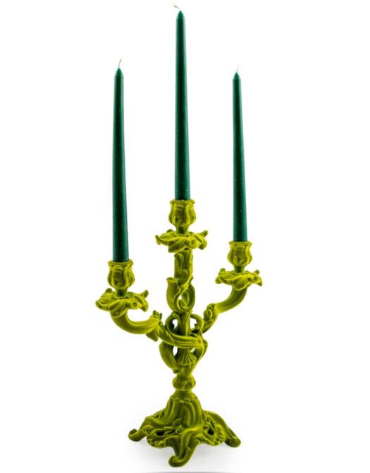 Bright Green Flock Ornate Candelabra