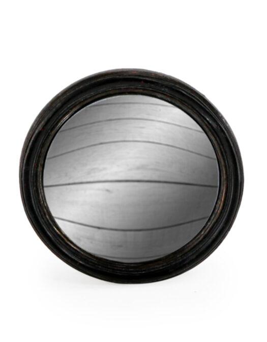 Antiqued Black Thin Framed Small Convex Mirror