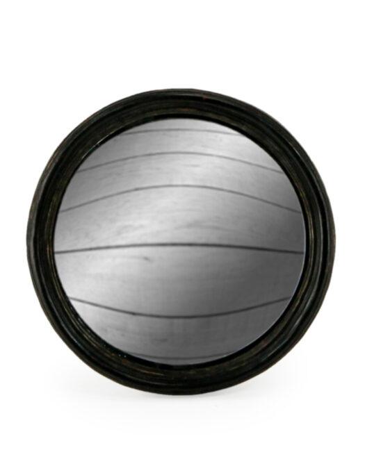Antiqued Black Thin Framed Medium Convex Mirror
