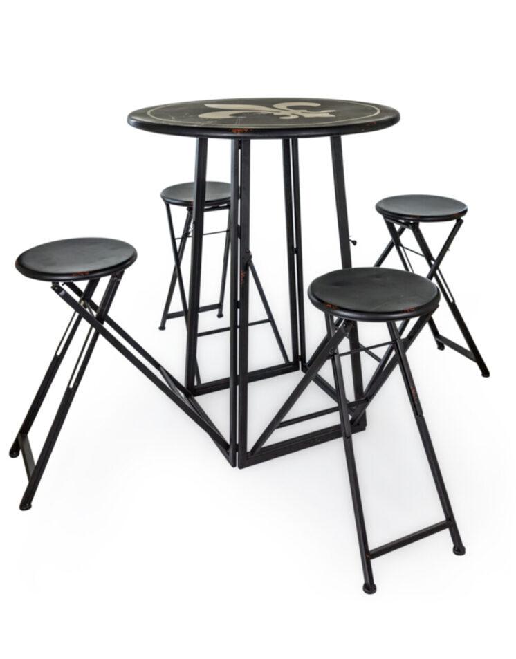 Antiqued Metal Folding 4 Seat Bar Table