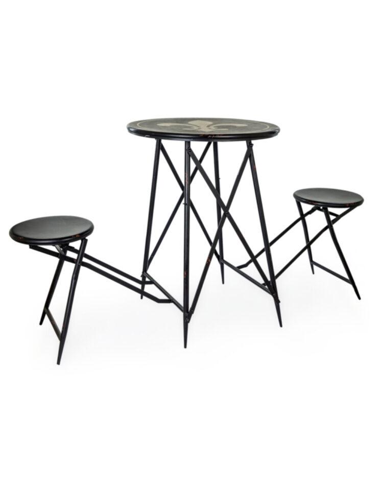 Antiqued Metal Folding 2 Seat Bar Table