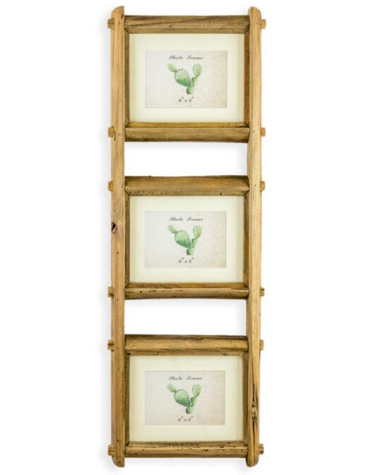 "Reclaimed Pine Triple 4x6 Wall Photo Frame"""