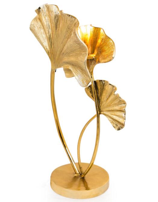 Large Gilded Aluminium Ginkgo Leaf Table Lamp
