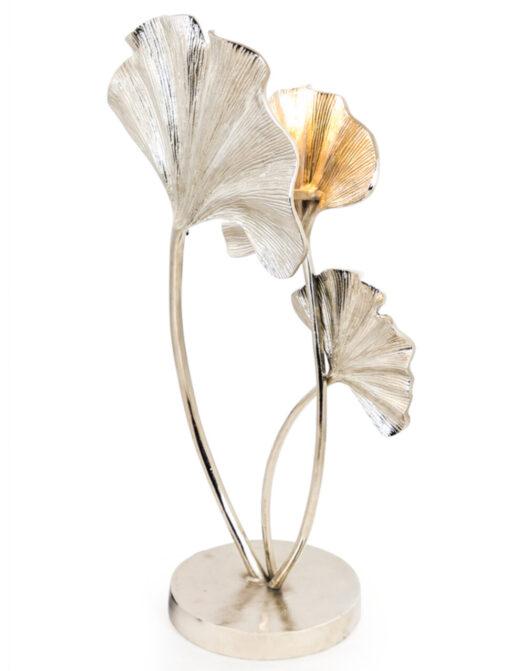 Large Nickel Plated Aluminium Ginkgo Leaf Table Lamp