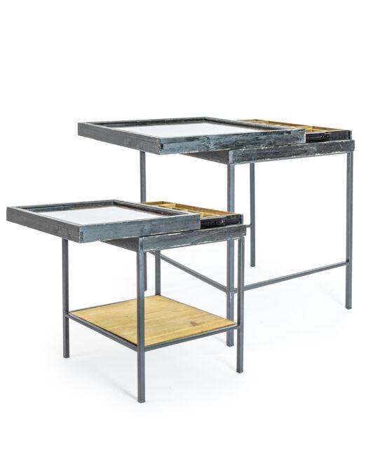 Antiqued Black Wooden Set of 2 Nest Display Side Tables