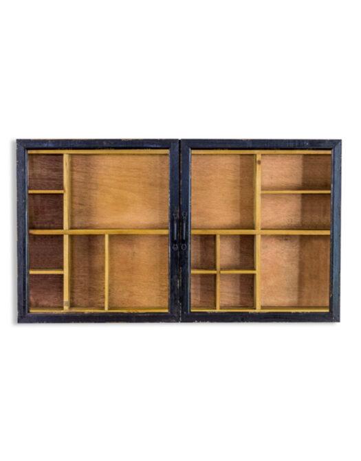 Antiqued Black Wooden Sliding Door Wall Cabinet