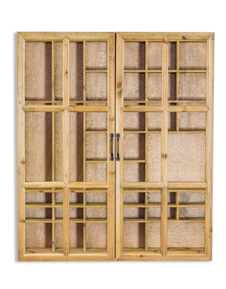 Rustic Wooden and Black Sliding Door Wall Cabinet