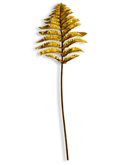 Metallic Gold Small Single Fern Leaf