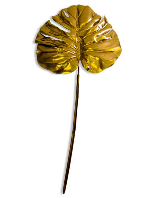 Metallic Gold Single Monstera Leaf