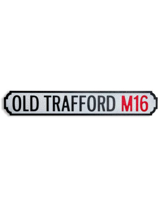 "Antiqued Wooden Old Trafford M16"" Road Sign"""