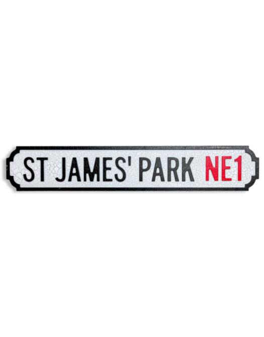 """Antiqued Wooden St. James' Park NE1"""" Road Sign"""""""