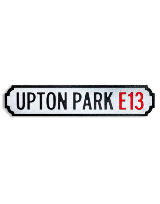 "Antiqued Wooden Upton Park E13"" Road Sign"""