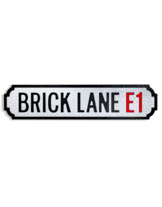 """Antiqued Wooden Brick Lane E1"""" Road Sign"""""""