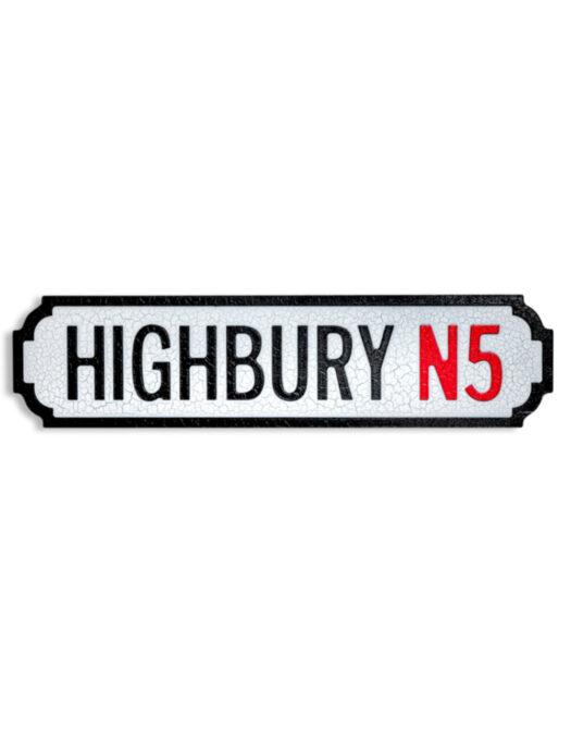 """Antiqued Wooden Highbury N5"""" Road Sign"""""""