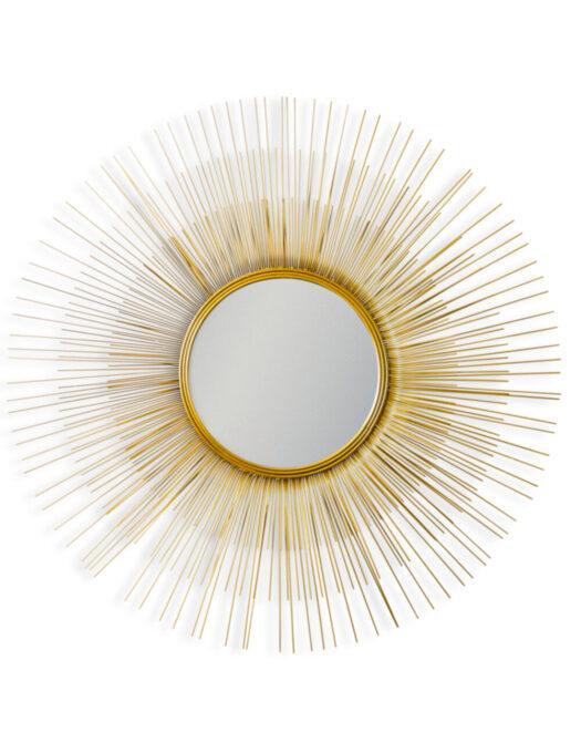 Antique Gold Metal Sunburst Wall Mirror